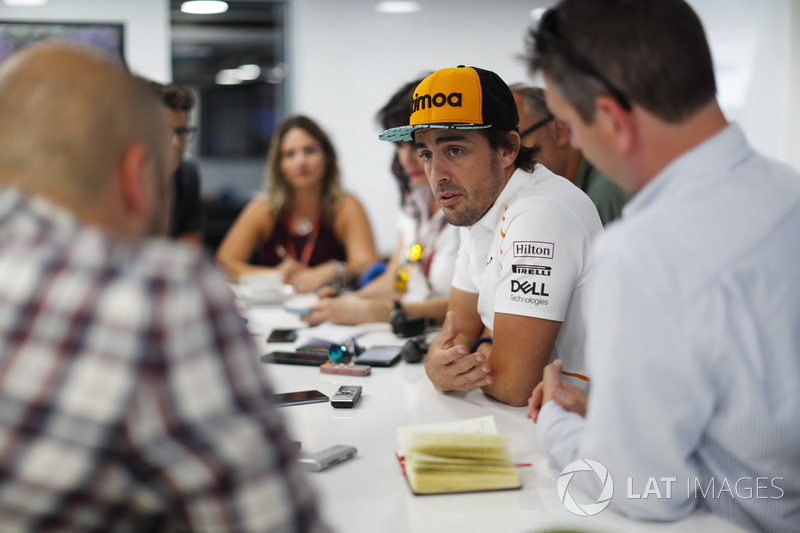 Fernando Alonso, McLaren, holds a press conference