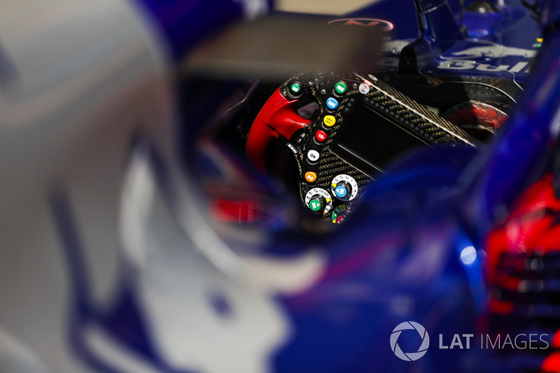 A steering wheel in a Toro Rosso STR13