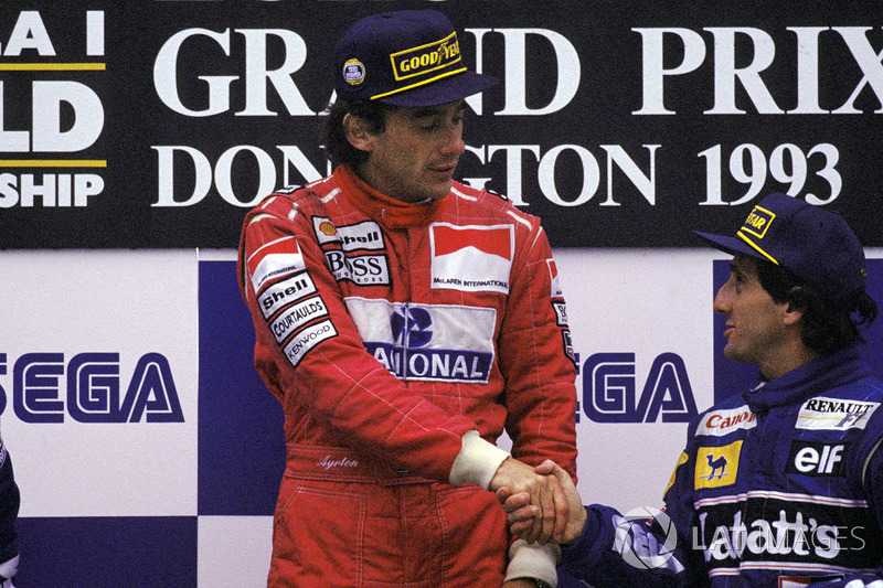 Race winner Ayrton Senna, McLaren, third place Alain Prost, Williams
