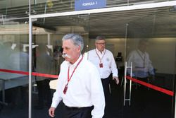 Chase Carey, Chairman, Formula One, Ross Brawn, Managing Director of Motorsports, FOM