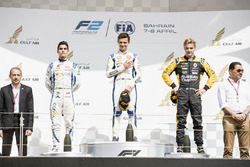 Podium: second place Sergio Sette Camara, Carlin, Race winner Lando Norris, Carlin, third place Arte