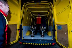DHL delivers the trophies to the podium