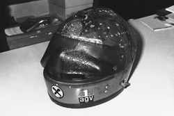 The burnt helmet of Niki Lauda, Ferrari