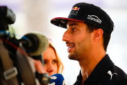 Daniel Ricciardo, Red Bull Racing, talks to the media