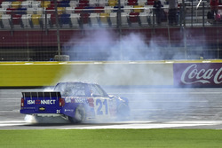 Johnny Sauter, GMS Racing, Chevrolet Silverado ISM Connect, does a burnout after winning