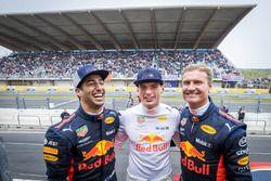 Max Verstappen, Daniel Ricciardo en David Coulthard tijdens de Jumbo Racedagen