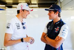 Esteban Ocon, Force India, with Lance Stroll, Williams Racing
