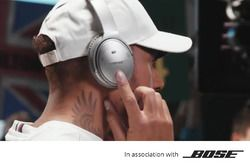 Lewis Hamilton filming a Bose commercial