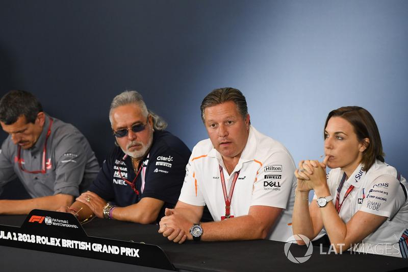 Керівник Haas F1 Team Гюнтер Штайнер, керівник Force India Formula One Team Віджей Малья, генеральний директор McLaren Зак Браун, заступник керівника Williams Клер Вільямс