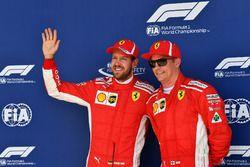 Sebastian Vettel, Ferrari en Kimi Raikkonen, Ferrari in parc ferme
