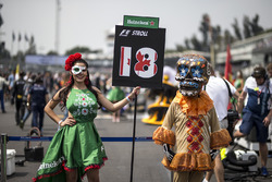 Grid girl and Day Of The Dead character