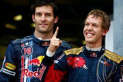 Le poleman Sebastian Vettel, Toro Rosso, Mark Webber, Red Bull Racing