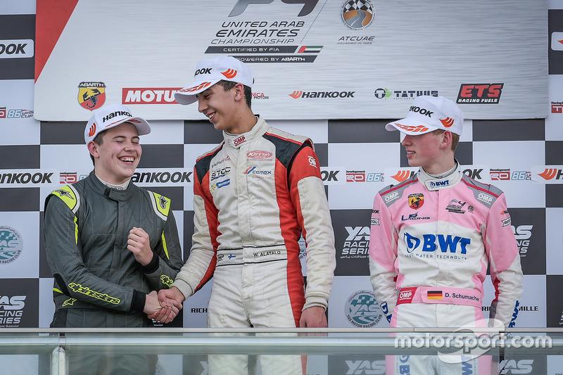 Podium : le vainqueur William Alatalo, Mücke Motorsport, le deuxième Niklas Krütten, Mücke Motorsport, le troisième David Schumacher, Rasgaira Motorsports