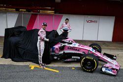 Sergio Perez, Sahara Force India and Esteban Ocon, Sahara Force India F1 unveil the new Sahara Force India VJM11