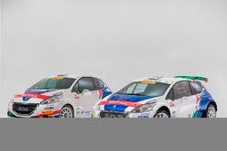 La Peugeot 208 R2 di Damiano De Tommaso e Michele Ferrara accanto alla Peugeot 208 T16 R5 di Paolo Andreucci e Anna Andreussi
