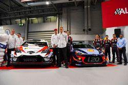 The Toyota WRC team, including Tommi Makinen, Jari-Matti Lavala, Ott Tanak and Esapekka Lappi, and the Hyundai team, including Dani Sordo, Thierry Neuville, Hayden Paddon and Michel Nandan