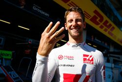 Romain Grosjean, Haas F1 Team, celebrates his fourth place