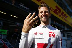 Romain Grosjean, Haas F1 Team, celebrates his fourth place
