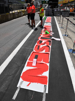 Pit lane markings are painted
