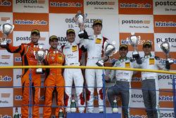 Podium: Race winner #5 Phoenix Racing Audi R8 LMS: Philip Ellis, Max Hofer, second place #63 ORANGE1