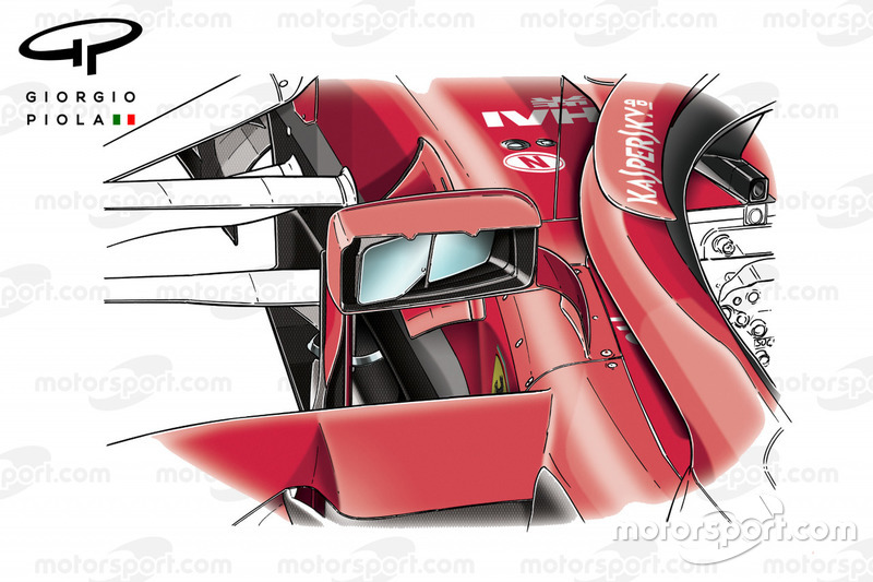 Ferrari SF71H, dettaglio dello specchietto, GP d'Azerbaijan