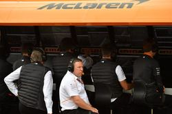 Zak Brown, McLaren Racing CEO on the McLaren pit wall gantry