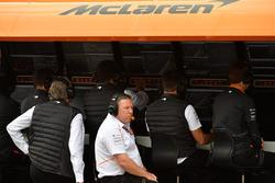 Zak Brown, McLaren Racing CEO on the McLaren pit wall gantry