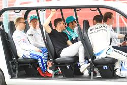 Oliver Turvey, NIO Formula E Team, Felix Rosenqvist, Mahindra Racing, Luca Filippi, NIO Formula E Team, Edoardo Mortara, Venturi Formula E Team, Sébastien Buemi, Renault e.Dams, on the drivers parade