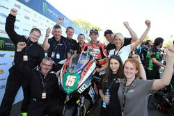 Derek McGee celebrates his runner up finish in the Lightweight race with the KMR Kawasaki team
