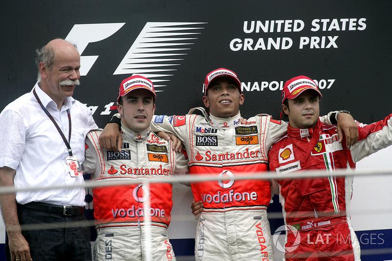 11- GP de Estados Unidos 2007 (24 años, 9 meses y 27 días): 3º Felipe Massa, 2º Fernando Alonso, 1º Lewis Hamilton