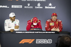 Lewis Hamilton, Mercedes-AMG F1, Sebastian Vettel, Ferrari et Kimi Raikkonen, Ferrari lors de la conférence de presse