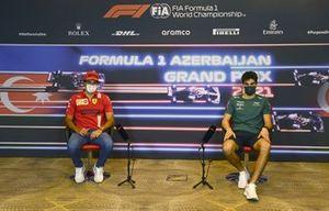 Carlos Sainz Jr., Ferrari and Lance Stroll, Aston Martin at press conference