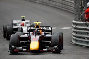 Juri Vips, Hitech Grand Prix, leads Ralph Boschung, Campos Racing