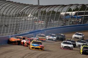 Michael Annett, JR Motorsports, Chevrolet Camaro Pilot Flying J and Daniel Hemric, Joe Gibbs Racing, Toyota Supra Poppy Bank wreck