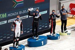 Podium: Race winner Kelvin van der Linde, Abt Sportsline, second place Nico Müller, Team Rosberg, third place Lucas Auer, Mercedes AMG Team Winward, Hans-Jürgem Abt, Team principal Abt Sportsline