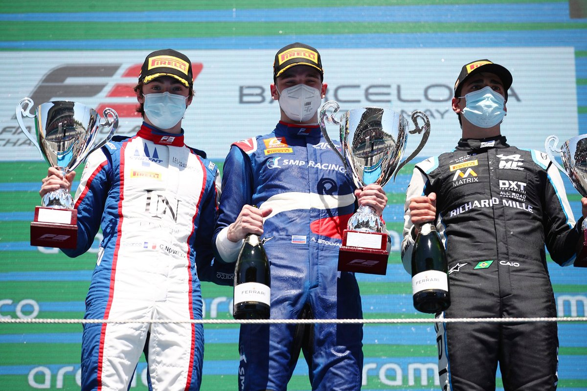 Podio: Alexander Smolyar, ART Grand Prix, Clement Novalak, Trident, Caio Collet, MP Motorsport
