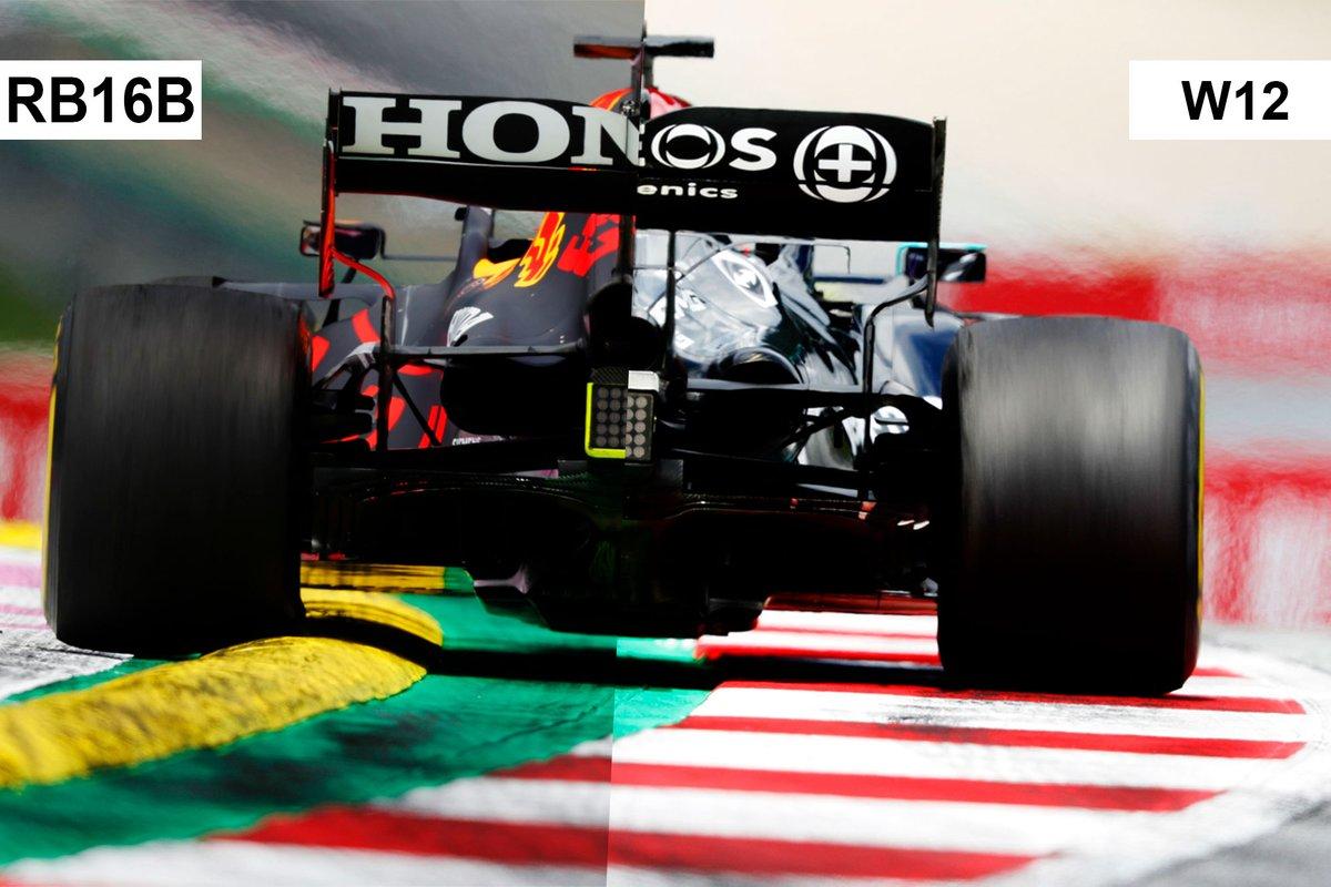 Comparación del alerón trasero Red Bull Racing RB16B, Mercedes W12