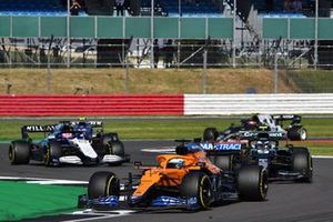 Daniel Ricciardo, McLaren MCL35M, Sebastian Vettel, Aston Martin AMR21 and George Russell, Williams FW43B