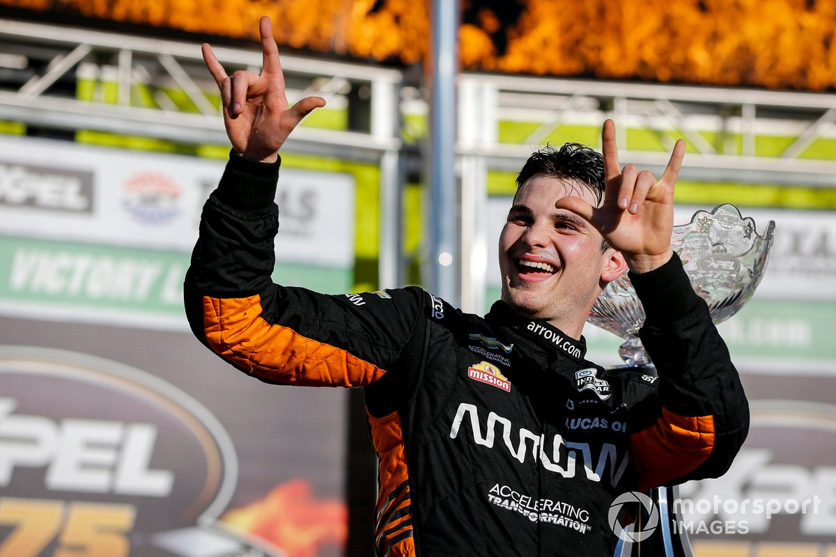 Patricio O'Ward, Arrow McLaren SP Chevrolet celebra la victoria en la XPEL 375