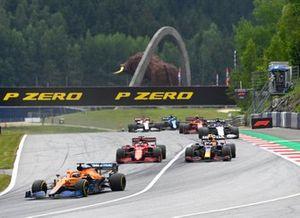Daniel Ricciardo, McLaren MCL35M , Charles Leclerc, Ferrari SF21, and Sergio Perez, Red Bull Racing RB16B