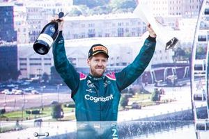 Sebastian Vettel, Aston Martin, 2nd position, celebrates on the podium