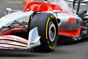 The 2022 Formula 1 car launch event on the Silverstone grid. Front wing and sidepod detail