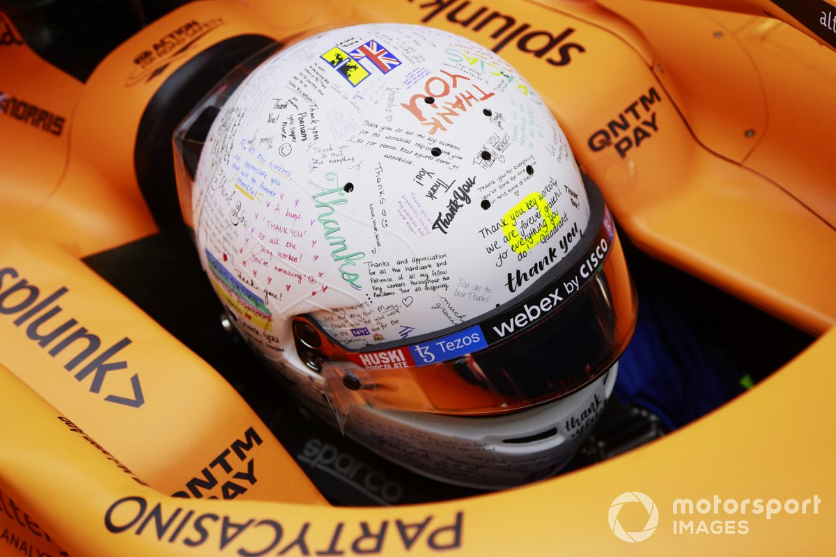 Design speciale per il casco di Lando Norris, McLaren