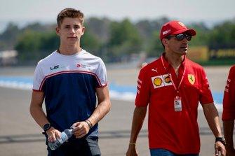 Arthur Leclerc walks the track with Marc Gene