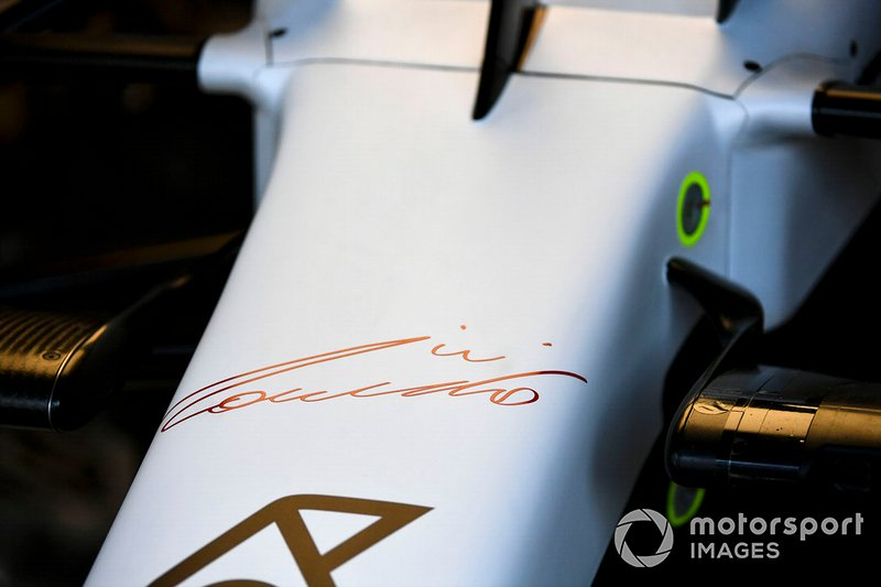 A signature on the nose of the Mercedes AMG F1 W10