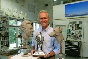 Sculptor William Behrends with the Baby Borg-Warner Simon Pagenaud Trophy