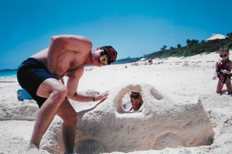 Dale Earnhardt Sr and Michael Waltrip with sand car