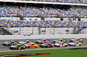 Jimmie Johnson, Hendrick Motorsports, Chevrolet Camaro Ally and Joey Logano, Team Penske, Ford Mustang Shell Pennzoil