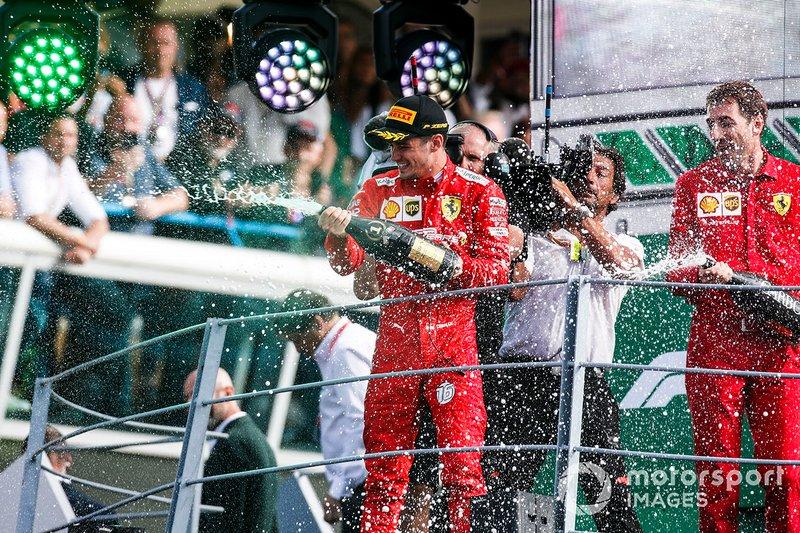 Podio: ganador Charles Leclerc, Ferrari
