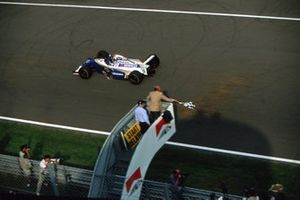 Race winner Damon Hill, Williams FW16 takes the chequered flag